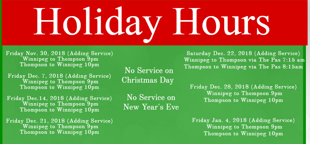 Maple Bus Lines Holiday Hours